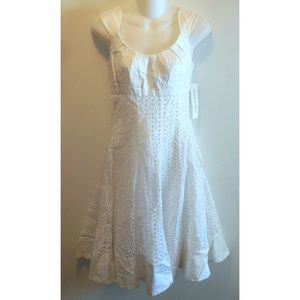 Maggy London White Cotton Eyelet Dress Fit & Flare